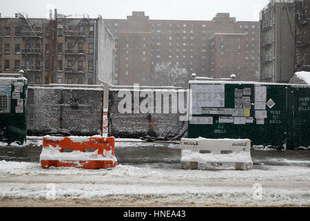 construction site during winter in the East Village, NY - Stock Photo