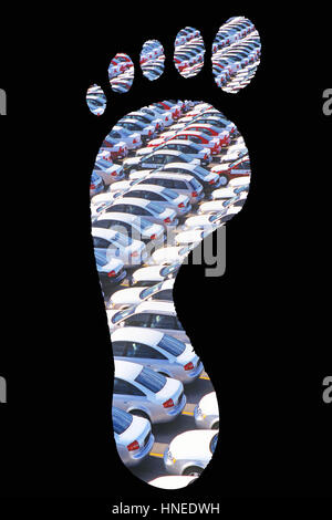 Cars parked in footprints over black background - Stock Photo