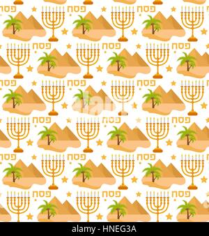 Passover seamless pattern. Pesach endless background, texture. Jewish holiday backdrop. Vector illustration. - Stock Photo