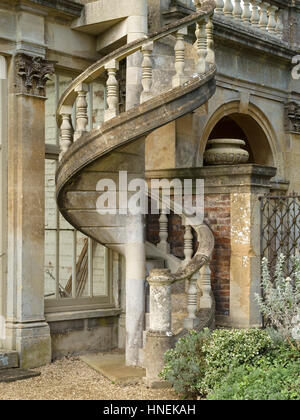 Exterior Stone Spiral Staircase Archway House Castle Ashby House Stock Pho