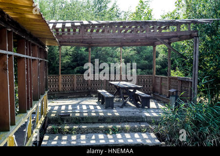 Arbour on the bank. Resting place on the nature. - Stock Photo