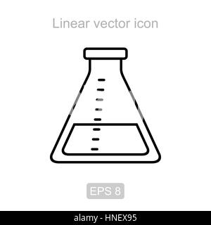 Icon of the laboratory flask in a linear style - Stock Photo