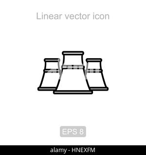 Nuclear power station. Linear vector icon. - Stock Photo