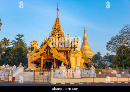 Entrance, Golden Shwedagon Pagoda, main stupa, stupa, Shwedagon Paya, Shwedagon, Rangoon, Myanmar - Stock Photo
