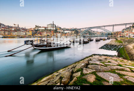Rabelo boats, port wine boats on the Rio Douro, Douro River, Porto, Portugal, Europe - Stock Photo