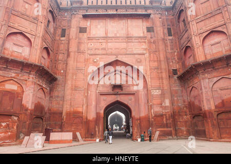 Walls, ramparts, Main gate (Lahore gate), in Red Fort, Delhi, India - Stock Photo