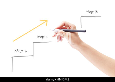 hand of a female holding a pen and drawing a diagram, isolated on white background. - Stock Photo
