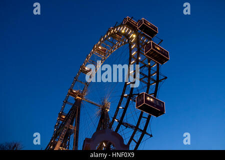 Wiener Riesenrad (Vienna Giant Wheel), Ferris wheel at the entrance to the Prater amusement park in Leopoldstadt, - Stock Photo