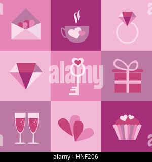 set of icons for Valentines day, Mothers day, wedding - Stock Photo