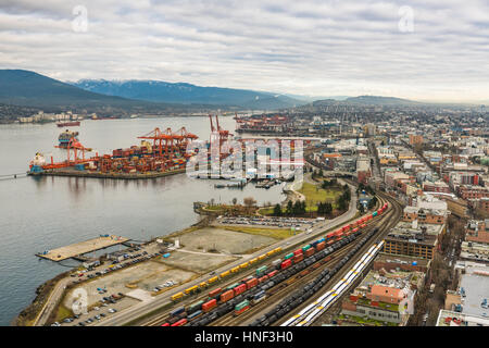 Vancouver, Canada - January 28, 2017: Vancouver Port with hundreds of shipping containers. - Stock Photo