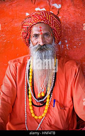 Sadhu (holy man),near Brahma temple,pushkar, rajasthan, india - Stock Photo