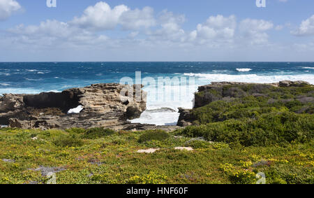 Cape Vlamingh coast with limestone rock formations and the Indian Ocean seascape at Rottnest Island in Western Australia. - Stock Photo