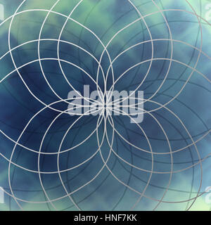 blue abstract background with white lines in symmetrical round pattern - Stock Photo