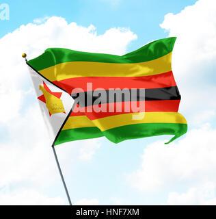 Flag of Zimbabwe Raised Up in The Sky - Stock Photo