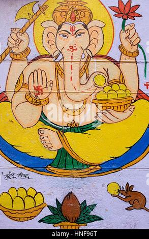 Wall painted with god Ganesh, Jaisalmer,Rajasthan, India - Stock Photo