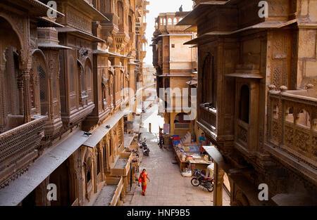 aerial view, townscape, Havelis, at left patwon ki haveli,Jaisalmer, Rajasthan, India - Stock Photo