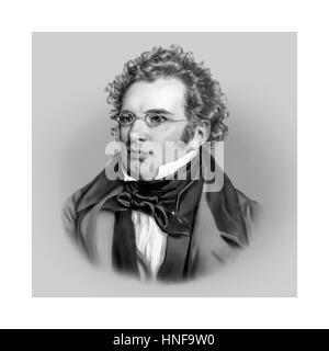 Franz Schubert, 1797-1828, Austrian Composer, Portrait, Illustration - Stock Photo
