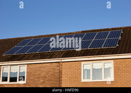 solar panels on the roof of a house in liverpool uk - Stock Photo