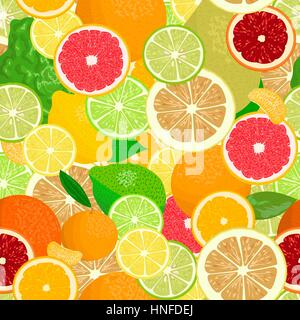 Juicy Citrus fruits set. Bright and vivid. Yellow, orange, red, green. Whole and slices, seamless pattern vector. - Stock Photo
