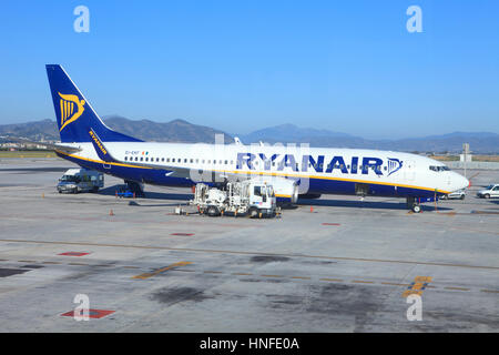 A Boeing 737-8AS from Ryanair at the airport of Malaga, Spain - Stock Photo