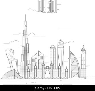 Dubai city with iconic buildings. Line art flat design. Vector illustration. - Stock Photo