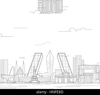 Madrid city with iconic buildings. Line art flat design. Vector illustration. - Stock Photo