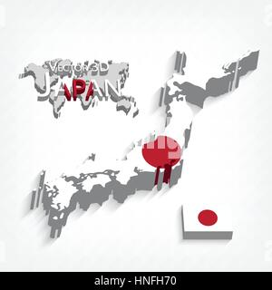 Japan Country Map With Flag And Shadow Effect Presentation Stock - Japan map 3d