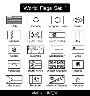 World flags set 1 . simple style and flat design . thick outline . black and white . - Stock Photo