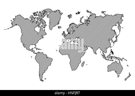 Freehand drawing style of world map and continent Stock Vector Art