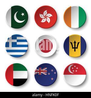 Set of world flags round badges ( Pakistan . Hong kong . Ivory Coast . Greece . Japan . Barbados . UAE . New zealand - Stock Photo