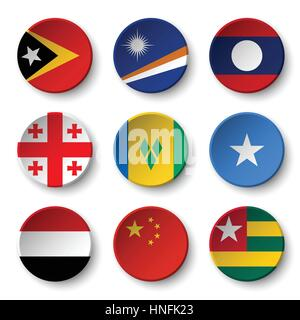 Set of world flags round badges ( East Timor . Marshall Islands . Laos . Georgia . Saint Vincent and the Grenadines - Stock Photo
