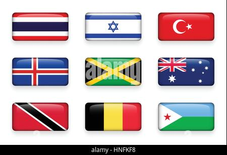Set of world flags rectangle buttons ( Thailand . Israel . Turkey . Iceland . Jamaica . Australia . Trinidad and - Stock Photo