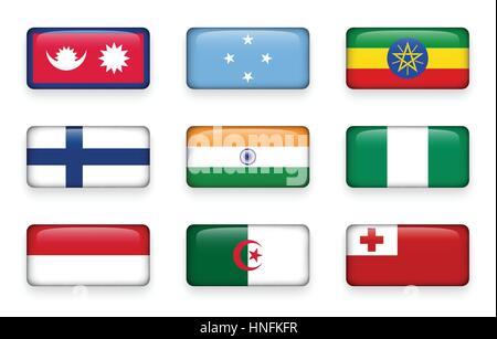 Set of world flags rectangle buttons ( Nepal . Micronesia . Ethiopia . Finland . India . Nigeria . Monaco . Algeria - Stock Photo