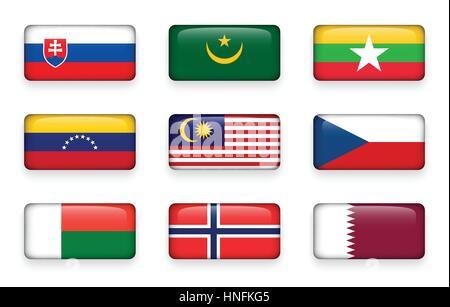 Set of world flags rectangle buttons ( Slovakia . Mauritania . Myanmar . Venezuela . Malaysia . Czech . Madagascar - Stock Photo