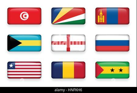 Set of world flags rectangle buttons ( Tunisia . Seychelles . Mongolia . Bahamas . England . Russia . Liberia . - Stock Photo