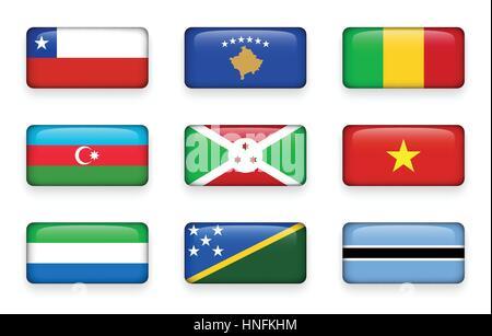 Set of world flags rectangle buttons ( Chile . Kosovo . Mali . Azerbaijan . Burundi . Vietnam . Sierra Leone . Solomon - Stock Photo