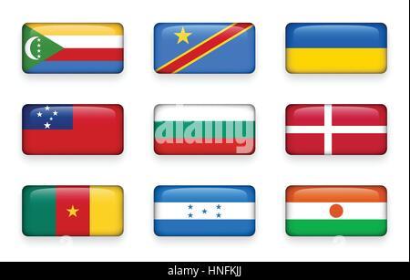 Set of world flags rectangle buttons ( Comoros . Democratic Republic of the Congo . Ukraine . Samoa , Bulgaria . - Stock Photo