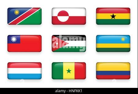 Set of world flags rectangle buttons ( Namibia . Greenland . Ghana . Taiwan . Jordan . Rwanda . Luxembourg . Senegal - Stock Photo