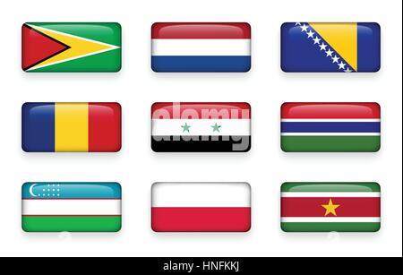 Set of world flags rectangle buttons ( Guyana . Netherlands . Bosnia and Herzegovina . Romania . Syria . Gambia - Stock Photo
