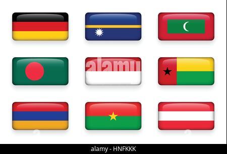 Set of world flags rectangle buttons ( Germany . Nauru . Maldives . Bangladesh . Indonesia . Guinea-Bissau . Armenia - Stock Photo