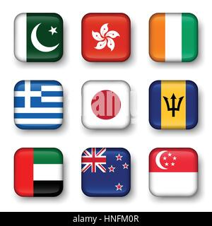 Set of world flags quadrangular badges ( Pakistan . Hong kong . Ivory Coast . Greece . Japan . Barbados . UAE . - Stock Photo