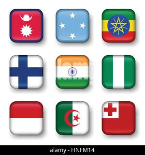 Set of world flags quadrangular badges ( Nepal . Micronesia . Ethiopia . Finland . India . Nigeria . Monaco . Algeria - Stock Photo