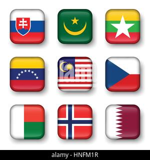 Set of world flags quadrangular badges ( Slovakia . Mauritania . Myanmar . Venezuela . Malaysia . Czech . Madagascar - Stock Photo