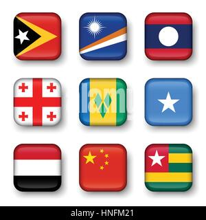 Set of world flags quadrangular badges ( East Timor . Marshall Islands . Laos . Georgia . Saint Vincent and the - Stock Photo