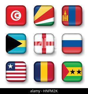Set of world flags quadrangular badges ( Tunisia . Seychelles . Mongolia . Bahamas . England . Russia . Liberia - Stock Photo