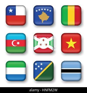 Set of world flags quadrangular badges ( Chile . Kosovo . Mali . Azerbaijan . Burundi . Vietnam . Sierra Leone . - Stock Photo
