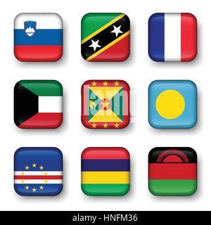 Set of world flags quadrangular badges ( Slovenia . Saint Kitts and Nevis . France . Kuwait . Grenada . Palau . - Stock Photo
