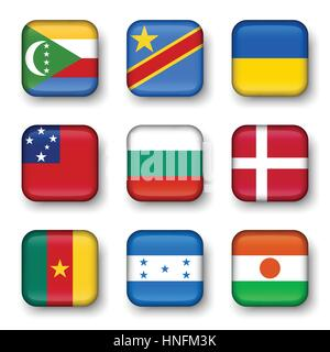 Set of world flags quadrangular badges ( Comoros . Democratic Republic of the Congo . Ukraine . Samoa , Bulgaria - Stock Photo