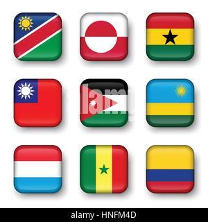 Set of world flags quadrangular badges ( Namibia . Greenland . Ghana . Taiwan . Jordan . Rwanda . Luxembourg . Senegal - Stock Photo