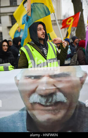 Whitehall, London, UK. 12th Feb, 2017. London Kurds protest about the arrest of the PKK leader Abdullah Ocalan on - Stock Photo